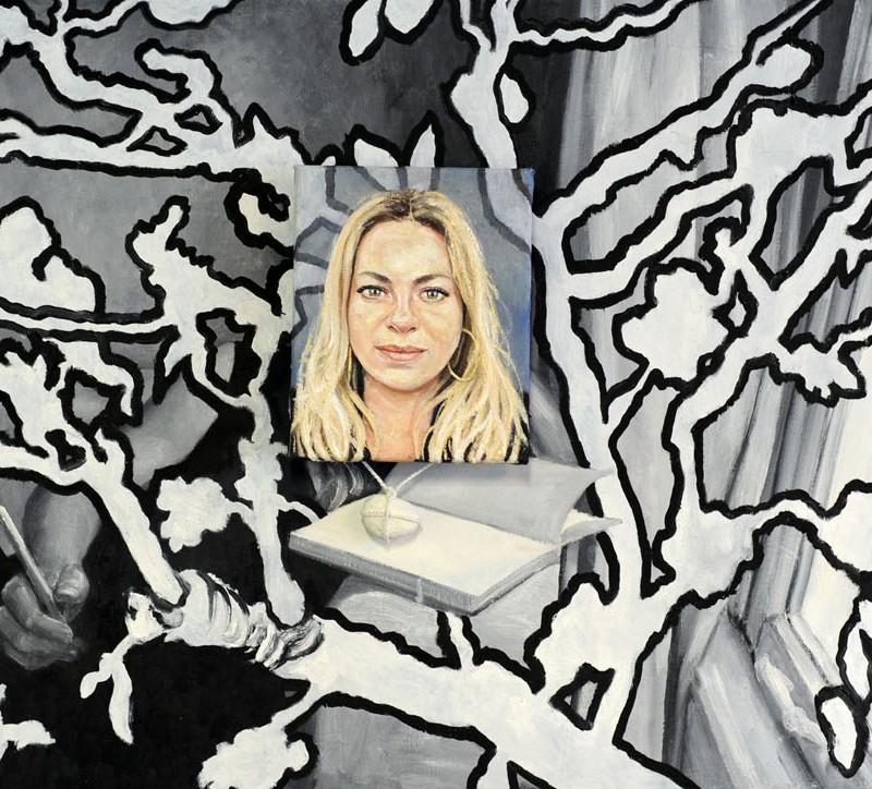 Dubbel portret van Maaike Martens, olieverf op doek 70 x 150 cm