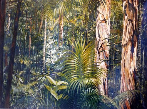 Australian Rainforrest, olieverf op doek door  Jacques Gregoire