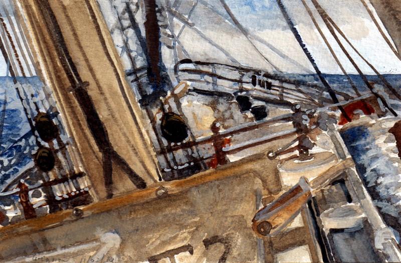 aquarel op de Klipper Stad Amsterdam door Jacques Gregoire,  Beagle, VPRO