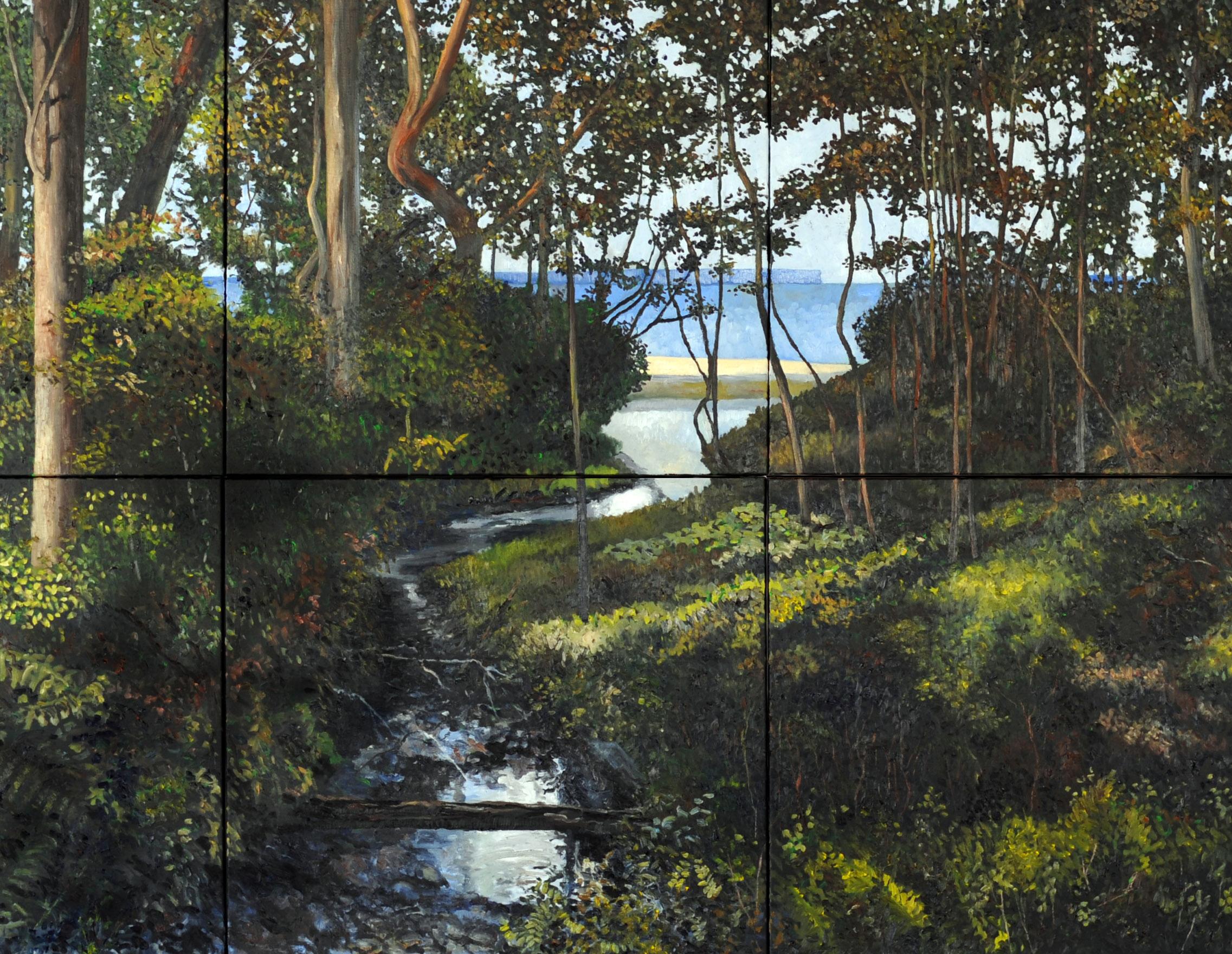 detail van het schilderij Hyams Beach 170 x 370 cm