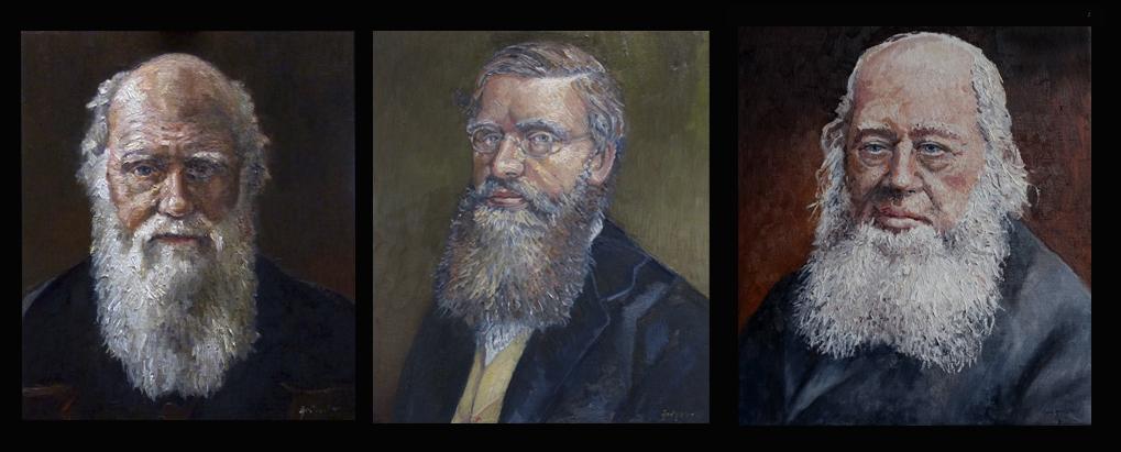 Portretten in olieverf door Jacques Grégoire van Darwin, Wallace en Gould