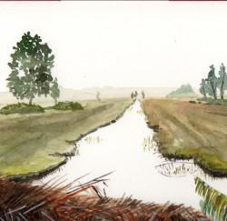 2017 De Poelen:Amstelveen aquarel 10,5x24,5 cm
